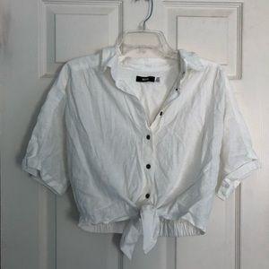 tie front crop shirt